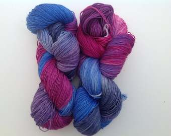 Wool sock yarn,  , merino wool / nylon blend.  hand dyed , faded denim blues and purples sock yarn ,