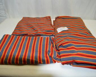 Vintage Cotton Poly T-shirt Fabric Red, Gold, Black, & Gray Stripe 3pc Lot