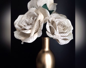 Book Page Flowers - Wedding Paper Flowers - Rustic Wedding Decor - Home Decorations