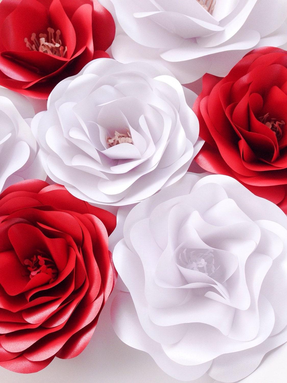 Elegant Red White Paper Flowers Wedding Decoration Wedding