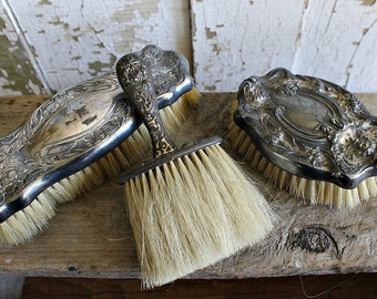 3 VICTORIAN SILVER BRUSHES