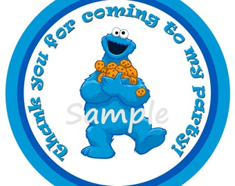Cookie Monster Birthday Gift Tags INSTANT DOWNLOAD Sesame Street Cookie Monster party supplies
