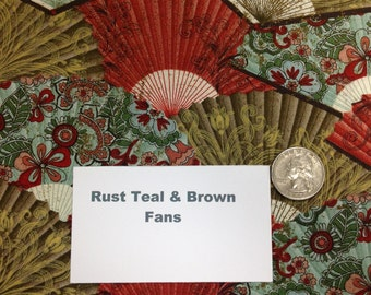 """Rust Teal and Brown Fans Fabric - 57"""""""
