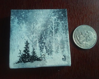 Monochromatic Winter miniature canvas painting