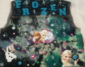 Frozen Sparkle and Bling Jean Vest
