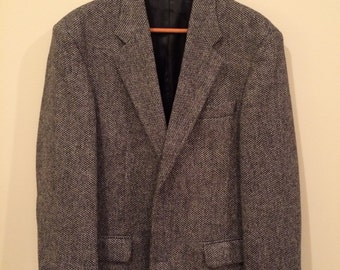 Vintage Mens Sportcoat Black/Grey Herringbone With Leather Buttons 40R
