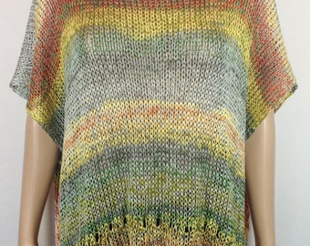 FREE SHIPPING! Tunic Hippie Boho Ethno loose knit Poncho Airy Summer tunic Handmade knitting Light knitted tunic Oversize
