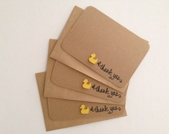 10 x Baby Duck Thank You Cards Set  – Wedding Thank you cards – Baby Shower Thank you cards – Birthday Thank you cards – Thank you cards