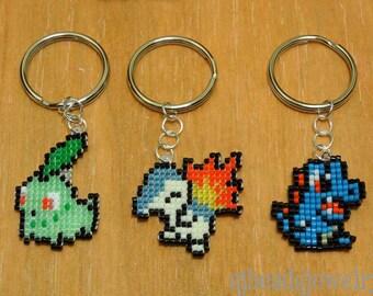 Pokemon Johto Starters Keychain Pack, Pokemon, Cyndaquil, Totodile, Chikorita, 3-pack