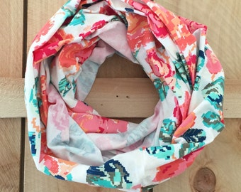 Nursing Scarf Floral, Rose Infinity Scarf, Breastfeeding Cover Up, Flower Scarf