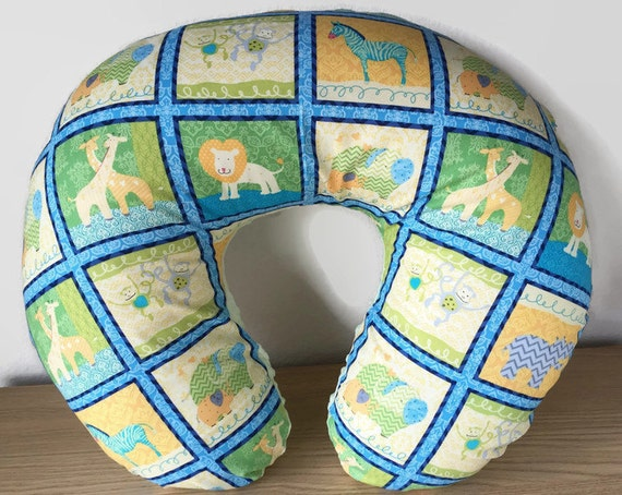 Animal Nursing Pillow : Nursing Pillow Cover Baby Animals Blue Quilt Block by MamaFoxSews