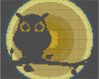 By The Light of the Moon Halloween/Owl Cross Stitch Pattern Instant download