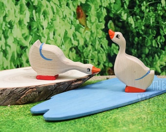 Waldorf Wooden Family Geese SET Toy, goose and drake,mom and dad goose, Bio Toy, Handmade toy,Toys for Kids,Gifts, Birthday present