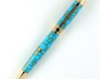 Turquoise with Gold Web TruStone Princess 24kt Gold with Clear Stones Pen