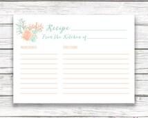 Boho Beach Bridal Shower Recipe Card Invitation Insert, Coral Watercolor Starfish Shell Wedding Recipe Cards, Wedding Instant Download