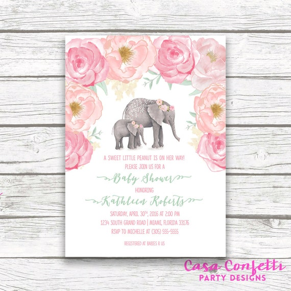Pink elephant baby shower invitation boho baby shower floral girl il570xn filmwisefo Gallery