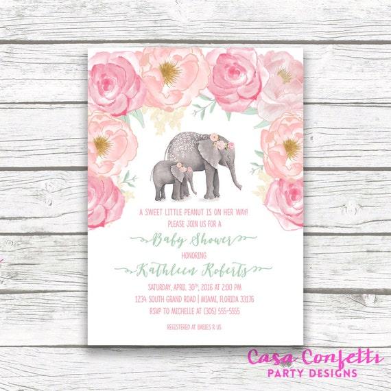 Pink elephant baby shower invitation boho baby shower floral girl il570xn filmwisefo