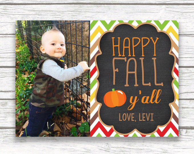 Fall Photo Greeting Card, Happy Fall Y'All Card, Chalkboard Photo Greeting Card, Pumpkin Photo Card, Autumn Card, Social Media Photo Post