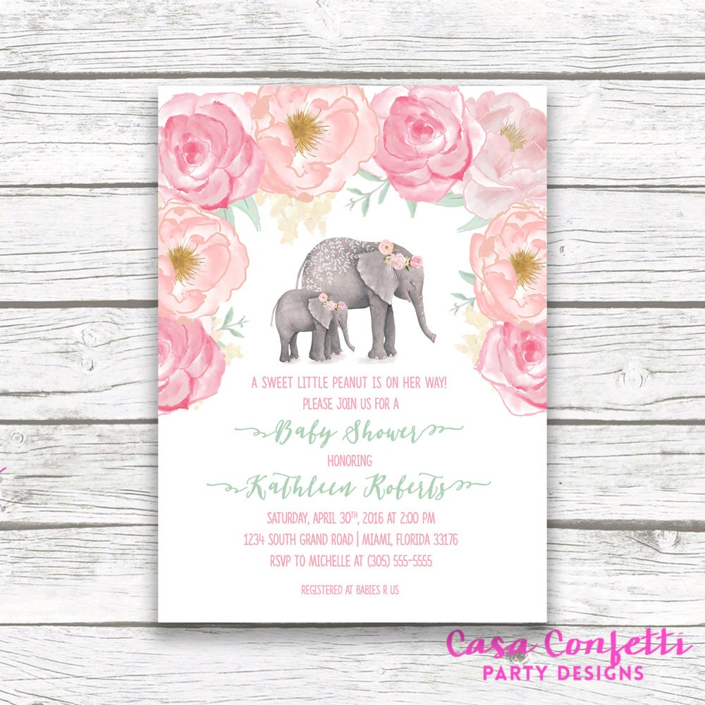 Marvelous Elephant Baby Shower Invitations For Girls Part - 13: 🔎zoom