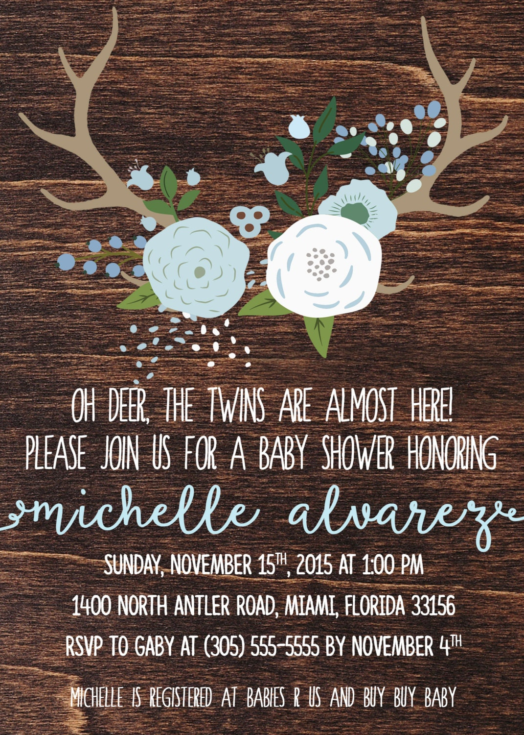 Twin Boy Baby Shower Invitation, Oh Deer Baby Shower Invitation ...