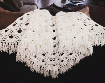 Crocheted Off White Shawl