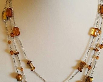 Amber and Copper Layered Fashion Necklace