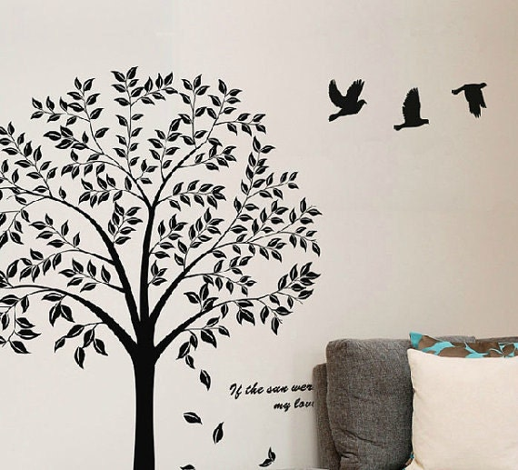 Black Tree Wall Decal  Tree Wall Decal Nursery  Family Tree Decal Wall  Sticker
