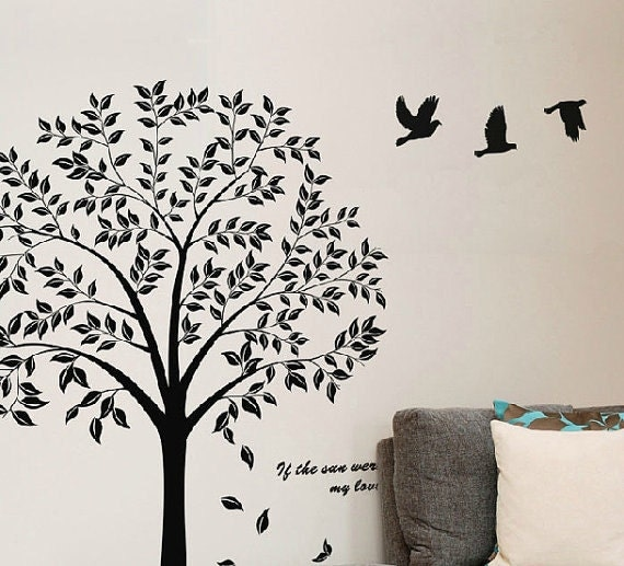 Black Tree Wall Decal- Tree Wall Decal Nursery- Family Tree Decal Wall  Sticker-Tree Of Life Wall Decal-Family Tree Decals Tree Sticker Quote