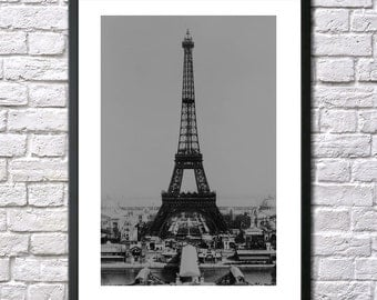 Eiffel tower print vintage photo Paris France Worlds Fair 1900s antique photograph black and white photography print poster