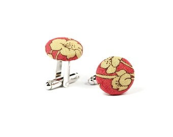 Beige floral cufflinks Silver cuff links Red cotton cufflinks for men Cuff links with flowers Summer wedding Rustic groom gift
