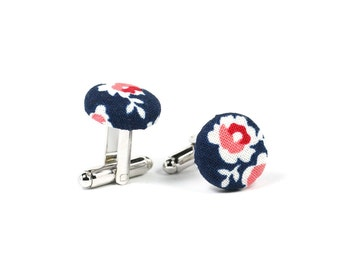 Fabric covered cufflinks, Navy/pink floral silver cuff links