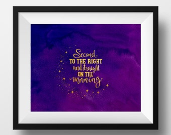 Second Star to the Right, Peter Pan, Watercolor Digital Print, Art Print, Instant Download