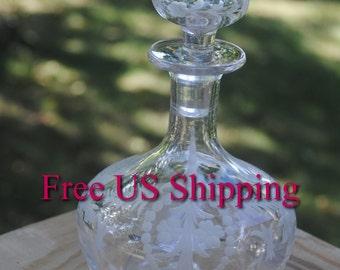 Signet Cut Glass Cologne Decanter Bottle Clover Design