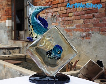 Fish Sculpture, Glass Fish Sculpture, Original Murano Glass Sculpture, Hand Blown Glass Sculpture Made in Italy, Glass Fish Tank Sculpture