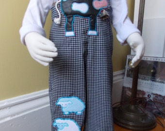 Size 1 to 3 Bibbed Trousers! Handmade, one of a kind, corduroy overalls that grow with your child.