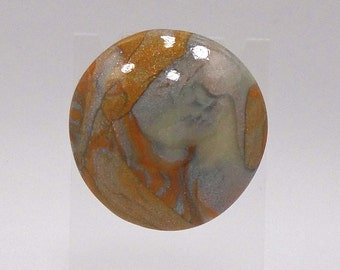 Gold and silver faux stone polymer clay button pendant