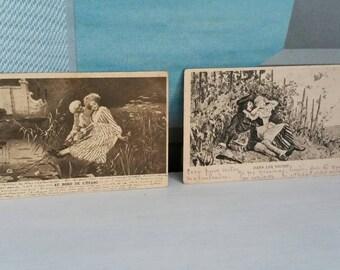 2 antique postcards 1902 romantic couples