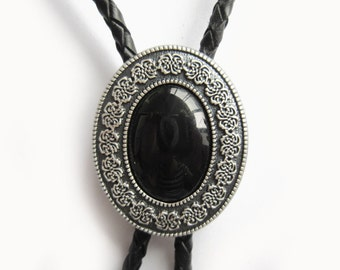 Silver Plated Oval Black Stone Western Cowboy Rodeo Bolo Tie