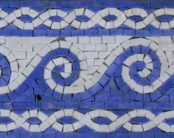 Beautiful Blue Wave Border Frame Twisted Chain Marble Mosaic BD165