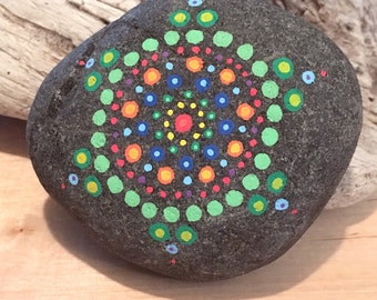 Mandala Dotted Painted Stone
