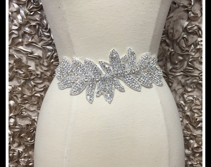 Rhinestone Leaf Bridal Aplique/ Sash Applique/ Swarovski Shine #0508