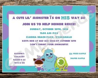 Monsters Inc Baby Shower, Monsters Inc Baby Shower Invitations, Monsters Inc Party, Monsters Inc Invites, DIGITAL DOWNLOAD