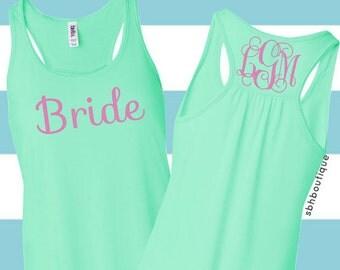 Monogram Bride Tank, Personalized Bride Shirt, Engagement TShirt, Wedding Day Shirt, Bachelorette Tank, Bride To Be Shirt, Bridal Tank Top