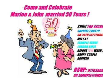 wedding anniversary jpeg invitation made to order