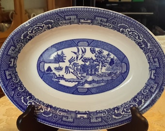 """Ca 1950s Vintage Homer Laughlin 9"""" Oval Blue Willow Serving Bowl G 55 N 6 Homer Laughlin China Blue Willow bowl"""