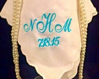 Monogrammed wedding handkerchief