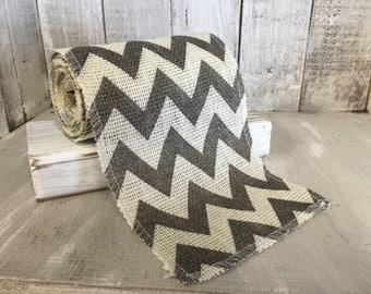 Gray Chevron Burlap Ribbon--Chevron Ribbon--Chevron Burlap Roll--Burlap--Wedding Burlap--Craft Supplies--Wreath Supplies