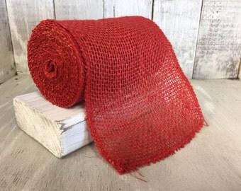 RED Burlap Ribbon--Chevron Ribbon--Chevron Burlap Roll--Burlap--Wedding Burlap--Craft Supplies--Wreath Supplies