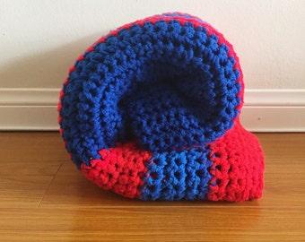 Vintage Afghan - Blue / Red Granny Blanket / Throw