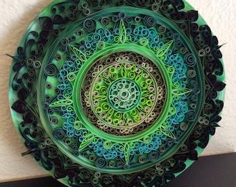 Green Quilled Mandala Wall Art